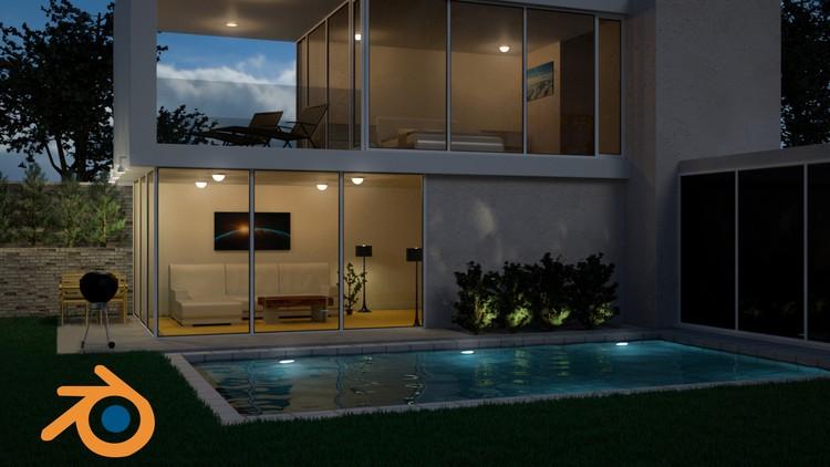 100% Off]- Create & Design a Modern 3D House in Blender